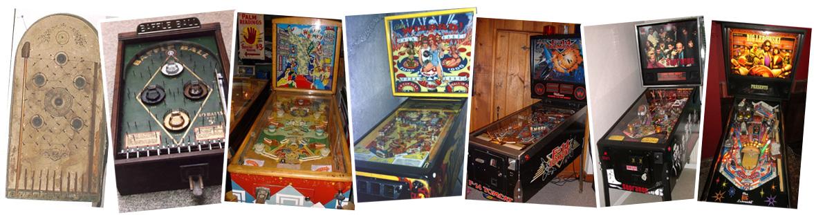 Evolutie van pinball; kasten uit 1850, 1930, 1966, 1977, 1987, 2005 en 2015.