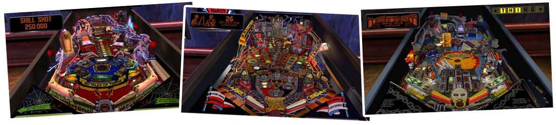 Pinball Arcade screenshots van klassiekers uit de jaren 1990: Medieval Madness, Scared Stiff en The Addams Family.