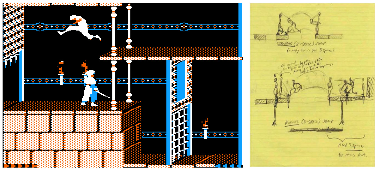Prince of Persia op de Apple II en Jordan Mechner's aantekeningen.