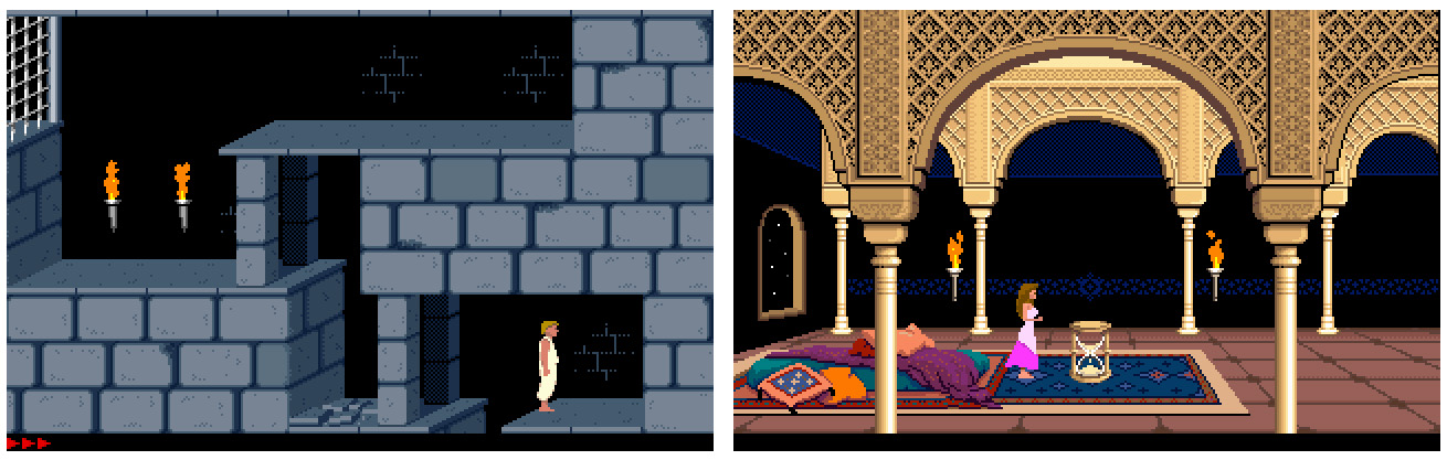 MS-DOS versie van Prince of Persia: de prinses en de prins.